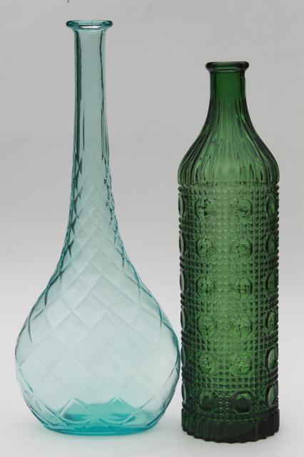 70s Vintage Colored Glass Decanters Tall Mod Genie
