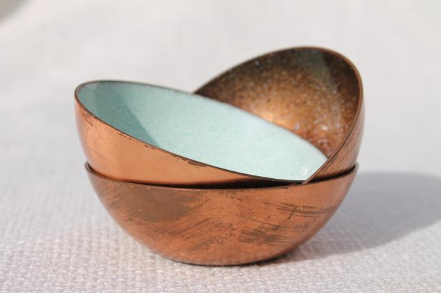 70s vintage copper enamel bowls, signed Jade Snow Wong enameled copper tiny dishes