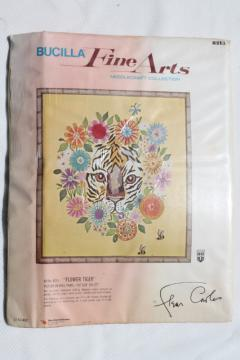 70s vintage crewel work embroidery kit, flower power jungle tiger, mod safari style design