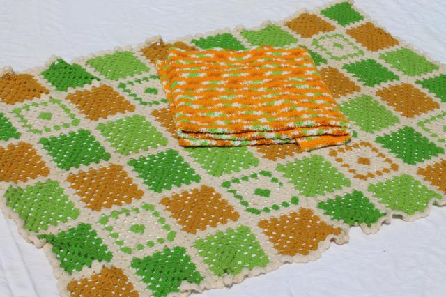 70s vintage crochet afghans / picnic blankets, lime green & orange gold
