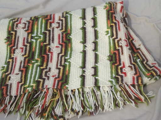 70s vintage crochet Indian blanket or fringed rug, retro hippie afghan