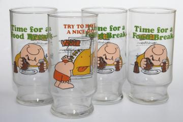 70s vintage drinking glasses, Ziggy character glass lot w/ two different comics prints
