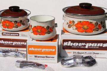 70s vintage enameled steel cookware, Show Pans w/ retro orange flowers, mint in box set