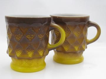 70s vintage Fire-King Kimberly coffee mugs, shaded brown / yellow gold