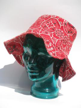70s vintage floppy sun hat, cotton bandana print for garden or beach