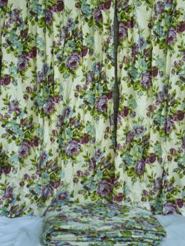 70s vintage floral print bedspread and curtains, retro blue and purple flowers