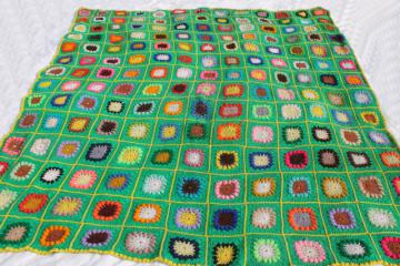 70s vintage granny square afghan blanket, boho hippie bedspread bright retro colors