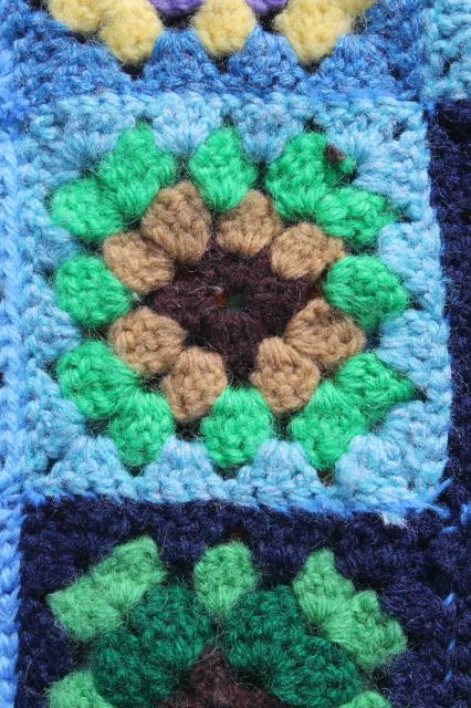 70s vintage granny square crochet afghan blanket, bohemian style w/ riot of different colors!