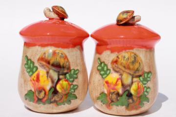 70s vintage handmade ceramic mushroom S&P set, magic mushrooms orange toadstool shakers