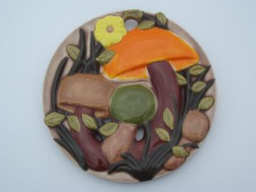 70s vintage handmade ceramic trivet, groovy mushrooms, very retro