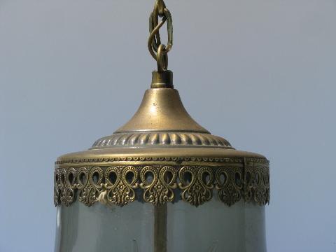 70s vintage hanging light smoke glass pendant lamp shade aloadofball Image collections