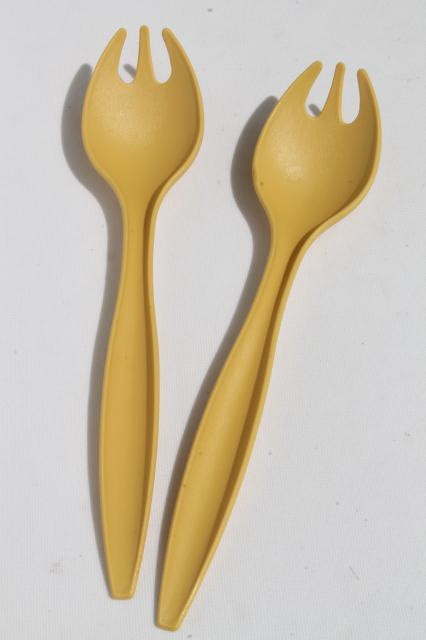 70s Vintage Harvest Gold Plastic Tupperware Salad Servers