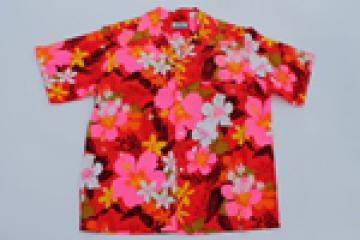 70s vintage Hawaiian print shirt, Hawaii label aloha sport shirt w/ tropical flowers