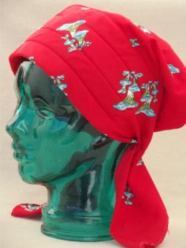 70s vintage head wrap cap, bonnet brim hat w/ cute retro mushroom print