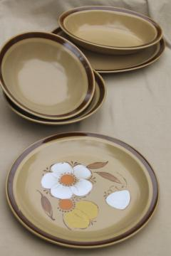 70s vintage heavy stoneware pottery dishes, Hearthside Japan dogwood pattern