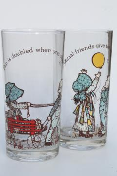 70s vintage Holly Hobbie drinking glasses, fun is doubled, special friends