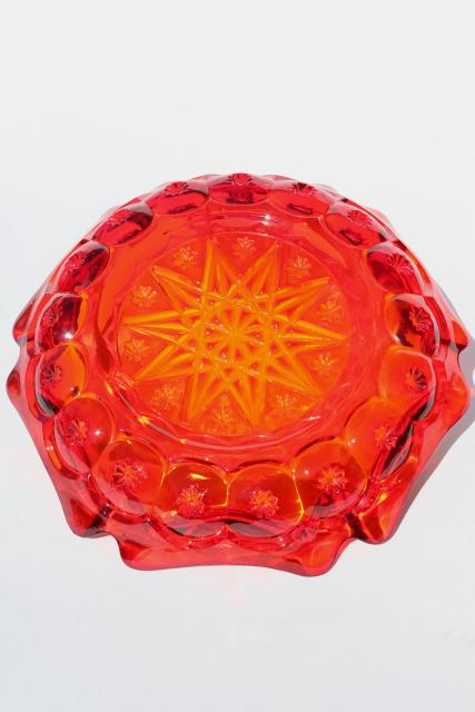 70s vintage huge heavy glass ashtray, amberina red orange glass, moon & stars pattern