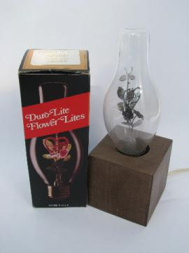 70s vintage I Love You figural filiment light bulb, retro wood lamp