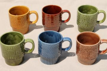 70s vintage Japan ceramic mugs, lot of 6 coffee cups w/ retro flowers