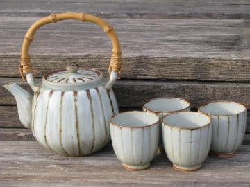 70s vintage Japan stoneware tea set, rattan handle teapot and glasses