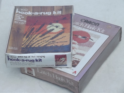 70s Vintage Latch Hook Rug Kits For Retro Shag Wall