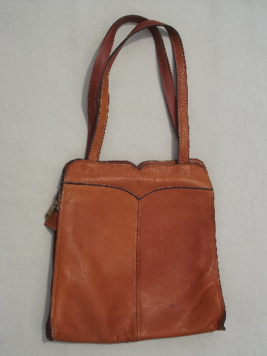 70s vintage leather purse, retro hippie shoulder bag / zip top tote