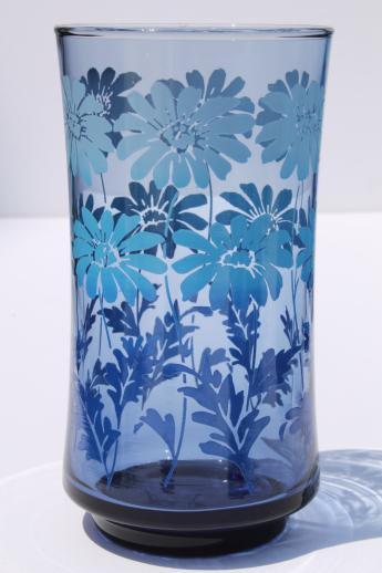 70s Vintage Libbey Drinking Glasses Set Of 12 Retro Blue