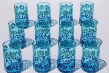 70s vintage Libbey juice glasses set of 12, retro blue fade color w/ daisy print