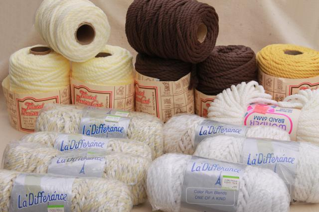 70s vintage macrame cord lot, mod chunky olefin yarn for retro craft projects