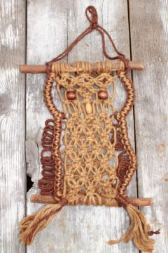 70s vintage macrame owl wall hanging art, rustic handcraft hippie decor rope owl