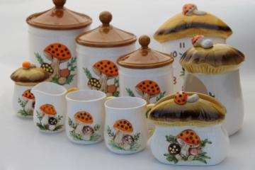 70s vintage Merry Mushrooms lot Sears ceramic kitchen clock, canisters, mugs etc..