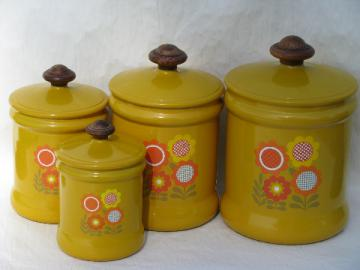 70's vintage metal kitchen canisters, retro flower power daisies!