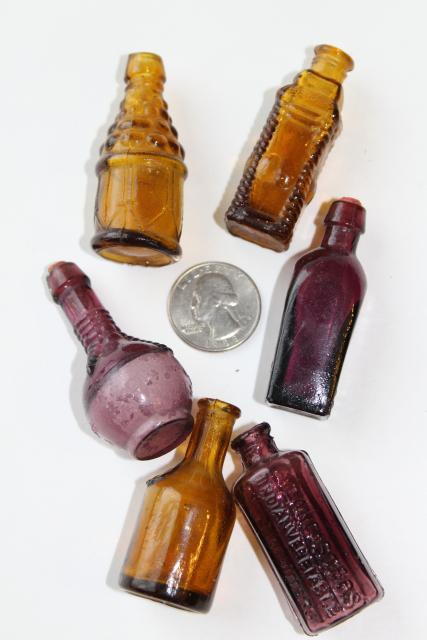 70s vintage miniature glass bottles, collectible mini bottle collection
