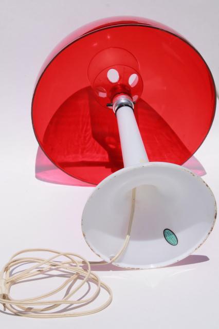 70s Vintage Mod Plastic Mushroom Lamp White W Red Shade