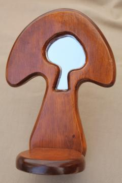 70s vintage mushrooms mirror wood shelf, retro magic mushroom 'window' wall shelf