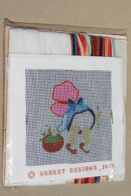 70s vintage needlepoint kits of sue & sam sunbonnet babies, quick point jiffy stitch pics to frame