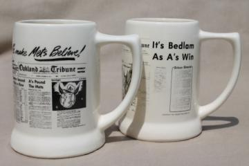 70s vintage Oakland Tribune mugs with sports pages newspaper headlines