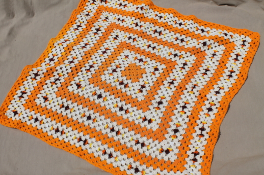 70s Vintage Orange White Crochet Afghan Giant Granny Square Blanket