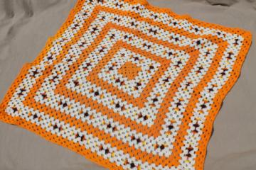 70s vintage orange & white crochet afghan, giant granny square blanket