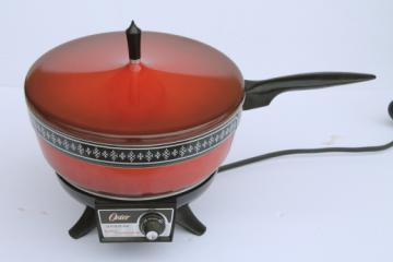 70s vintage Oster buffet cooker / server, electric chafing dish in retro flame orange red