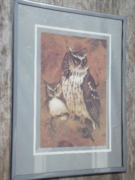 70s vintage owl print on silver mirror, retro mirror wall art