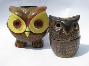 70s vintage owls fairy lights, ceramic candle lamps, retro  LUV owl etc