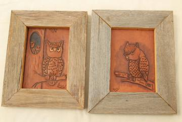 70s vintage owls, hand tooled leather pictures, rustic rough weathered barn wood frames