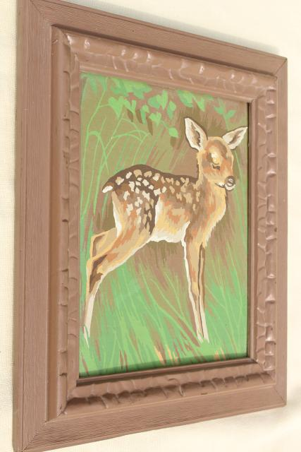 70s vintage paint by number picture, baby deer fawn framed in wood frame