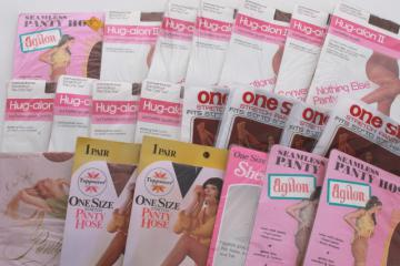 70s vintage pantyhose stockings, sealed packages stretch seamless suntan nude nylons