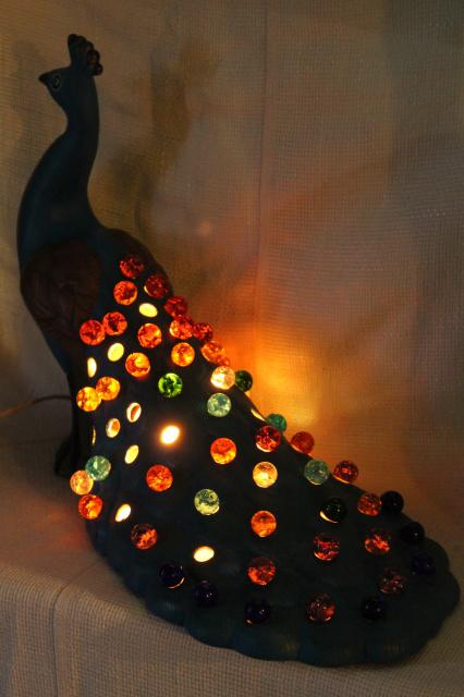 70s Vintage Peacock Lamp W Light Up Glass Marbles