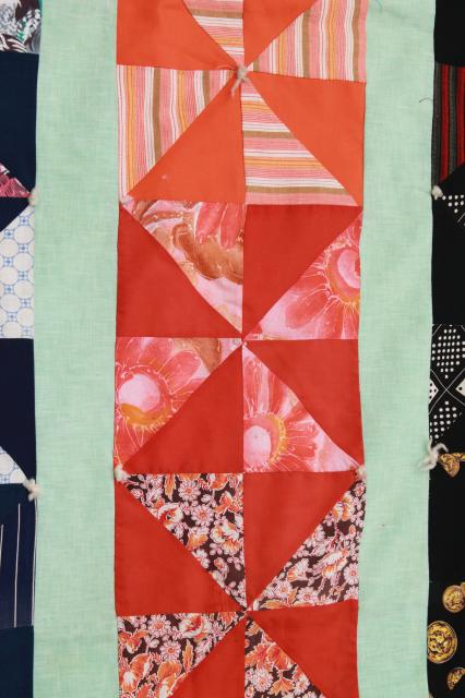 70s vintage pinwheel patchwork quilt, hand-tied cotton quilt in retro colors & prints