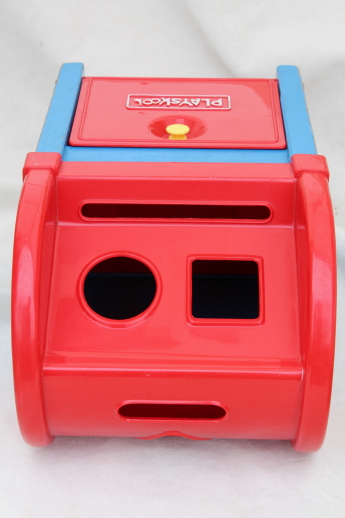 70s Vintage Playskool Mailbox Shape Sorter Toy With Wooden