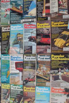 70s vintage Popular Mechanics magazine back issues lot, 18 project magazines