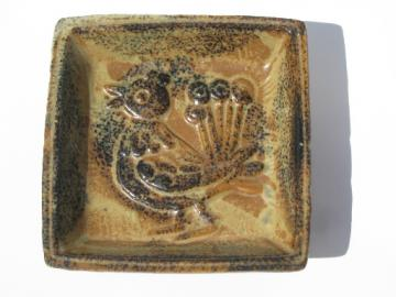 70s vintage Pottery Craft handcrafted stoneware ashtray, peacock bird